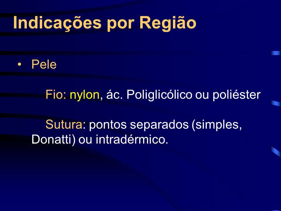 Indicações por Região Pele Fio: nylon, ác.
