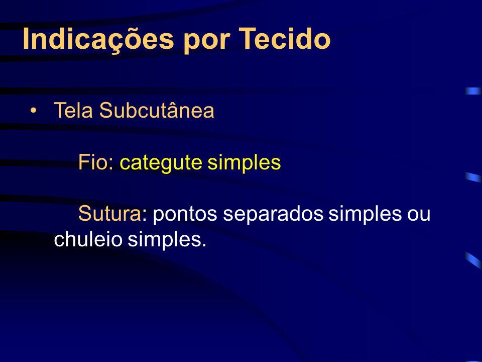 Indicações por Tecido Tela Subcutânea Fio: categute simples Sutura: pontos separados simples ou chuleio simples.