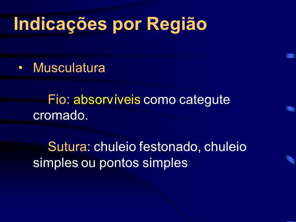 Indicações por Região Musculatura Fio: absorvíveis como categute cromado.