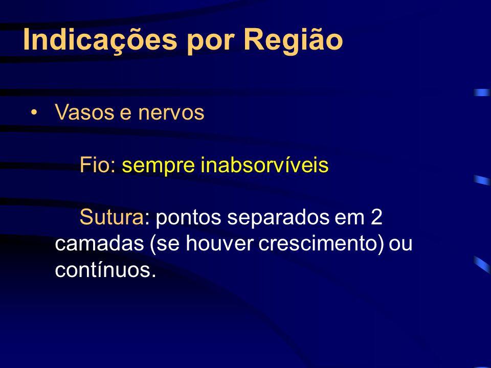 Indicações por Região Vasos e nervos Fio: sempre inabsorvíveis Sutura: pontos separados em 2 camadas (se houver crescimento) ou contínuos.