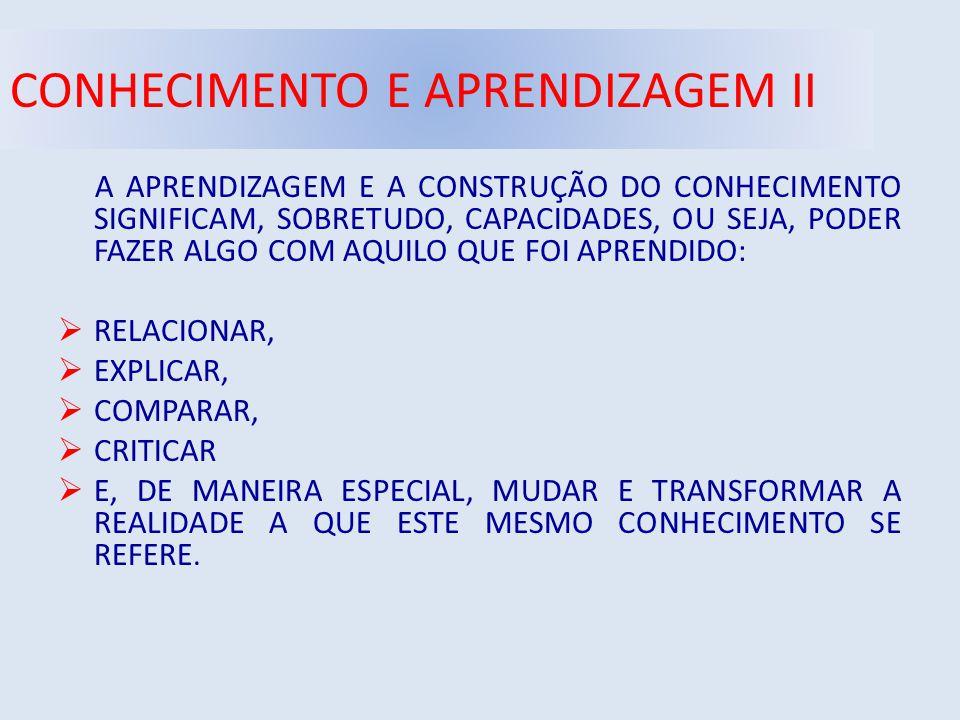 CONHECIMENTO E APRENDIZAGEM II A APRENDIZAGEM E A CONSTRUÇÃO DO CONHECIMENTO SIGNIFICAM, SOBRETUDO, CAPACIDADES, OU SEJA, PODER FAZER ALGO COM AQUILO QUE FOI APRENDIDO:  RELACIONAR,  EXPLICAR,  COMPARAR,  CRITICAR  E, DE MANEIRA ESPECIAL, MUDAR E TRANSFORMAR A REALIDADE A QUE ESTE MESMO CONHECIMENTO SE REFERE.