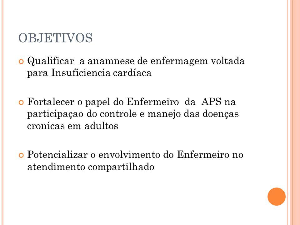 OBJETIVOS Qualificar a anamnese de enfermagem voltada para Insuficiencia cardíaca Fortalecer o papel do Enfermeiro da APS na participaçao do controle