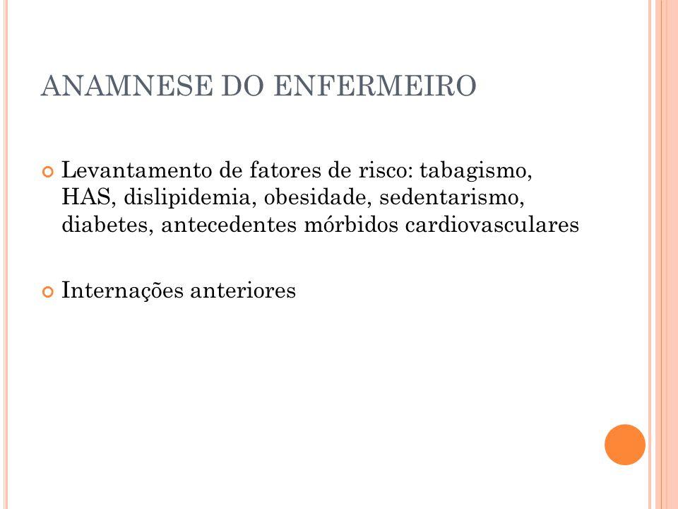 ANAMNESE DO ENFERMEIRO Levantamento de fatores de risco: tabagismo, HAS, dislipidemia, obesidade, sedentarismo, diabetes, antecedentes mórbidos cardio