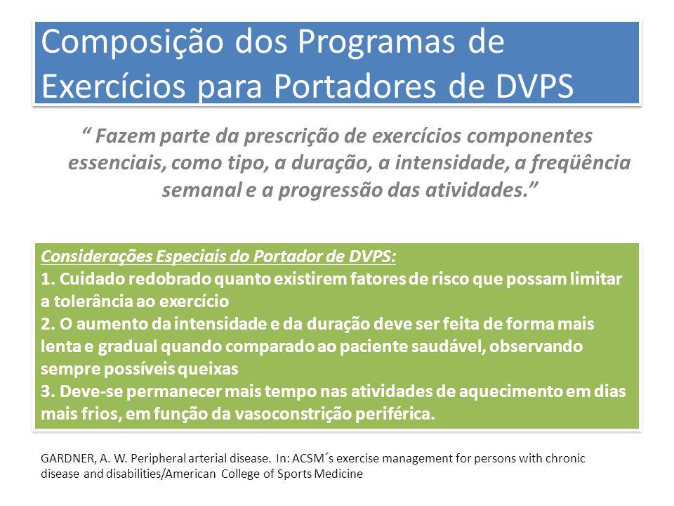 """Composição dos Programas de Exercícios para Portadores de DVPS """" Fazem parte da prescrição de exercícios componentes essenciais, como tipo, a duração,"""