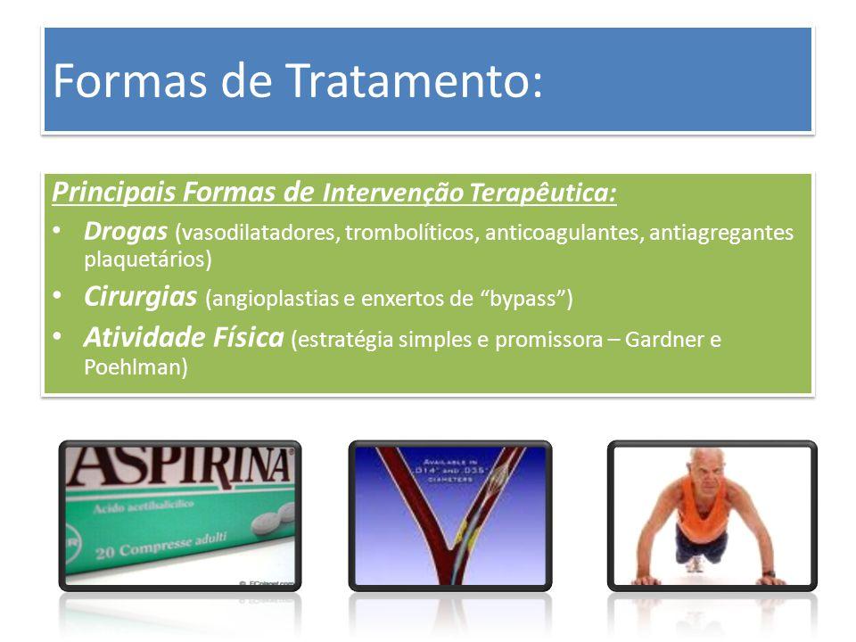 Formas de Tratamento: Principais Formas de Intervenção Terapêutica: Drogas (vasodilatadores, trombolíticos, anticoagulantes, antiagregantes plaquetári