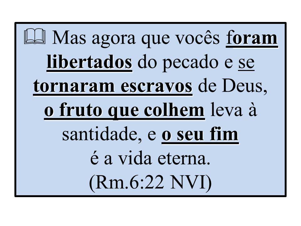 oram libertados tornaram escravos o fruto que colhem o seu fim  Mas agora que vocês foram libertados do pecado e se tornaram escravos de Deus, o fruto que colhem leva à santidade, e o seu fim é a vida eterna.