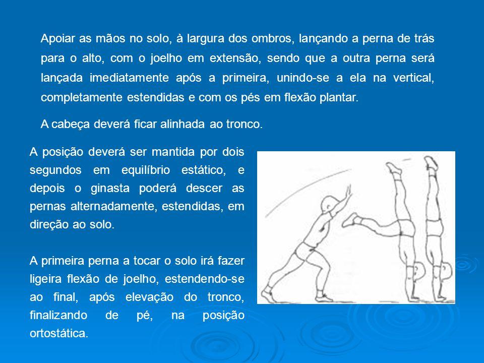 Apoiar as mãos no solo, à largura dos ombros, lançando a perna de trás para o alto, com o joelho em extensão, sendo que a outra perna será lançada imediatamente após a primeira, unindo-se a ela na vertical, completamente estendidas e com os pés em flexão plantar.