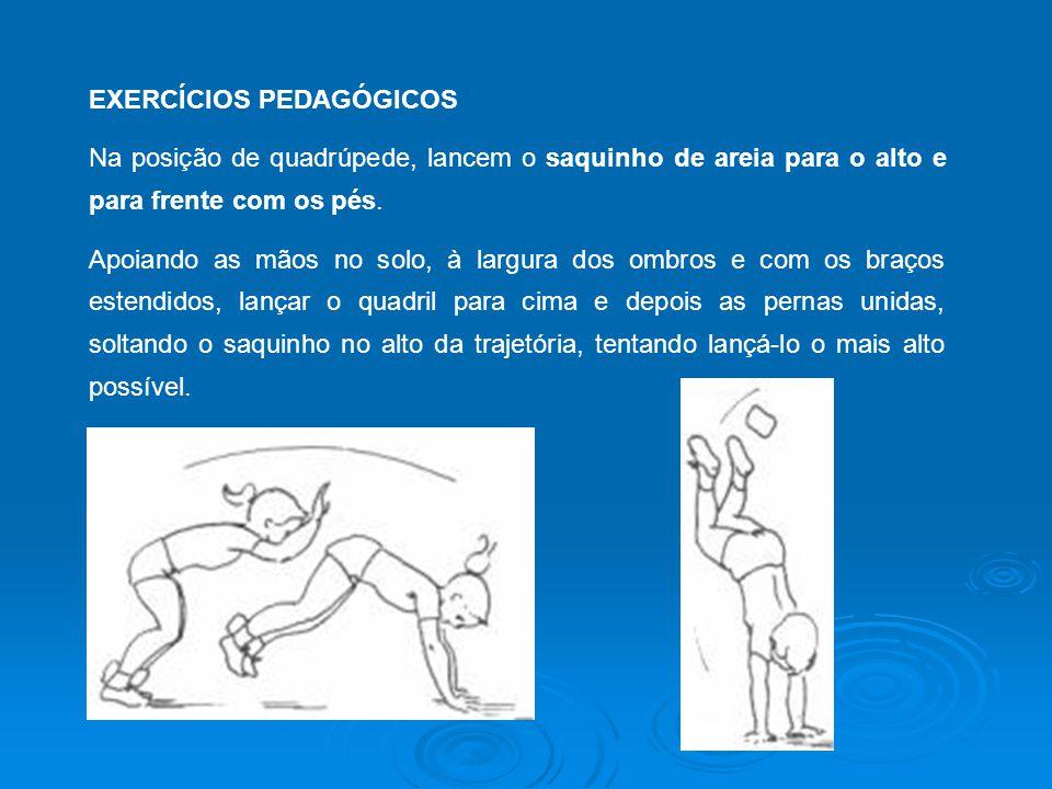 EXERCÍCIOS PEDAGÓGICOS Na posição de quadrúpede, lancem o saquinho de areia para o alto e para frente com os pés.
