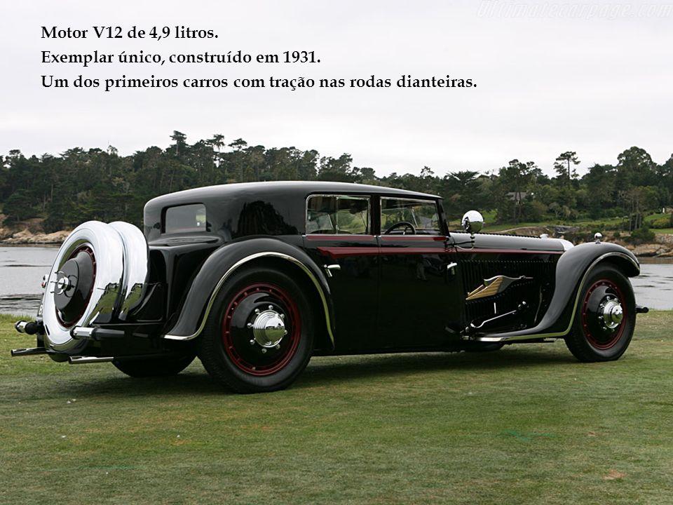 Motor V12 de 4,9 litros.Exemplar único, construído em 1931.