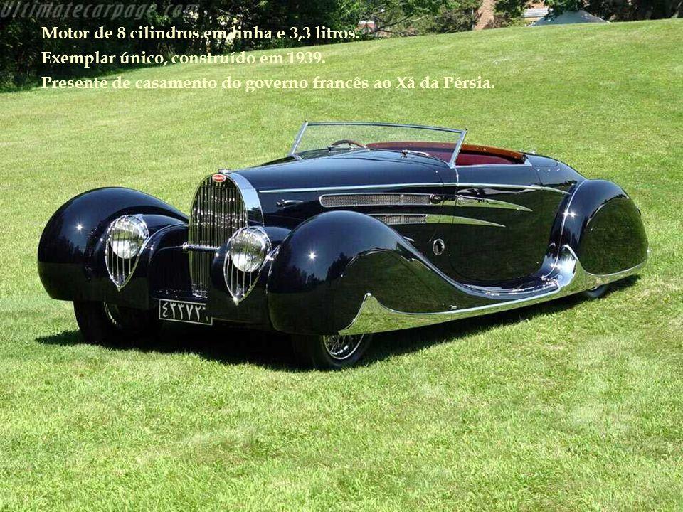 Motor de 8 cilindros em linha e 3,3 litros.Exemplar único, construído em 1939.