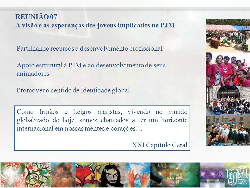 Partilhando recursos e desenvolvimento profissional Apoio estrutural à PJM e ao desenvolvimento de seus animadores Promover o sentido de identidade gl