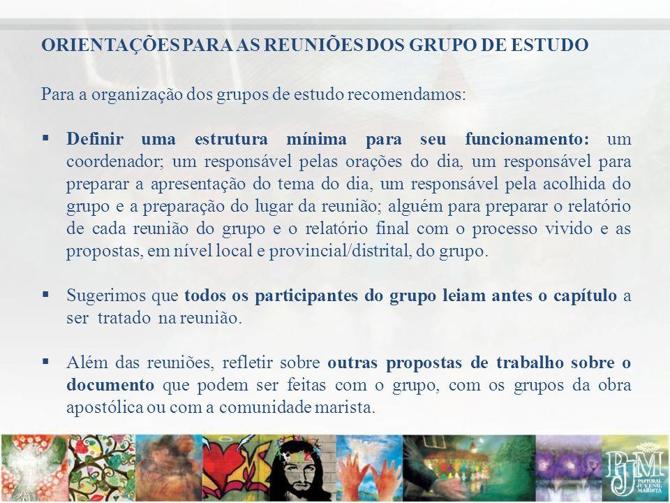 PROPOSTA METODOLÓGICA PARA AS REUNIÕES Recomendamos os seguintes passos para a realização das reuniões de grupo: Acolhida dos participantes.