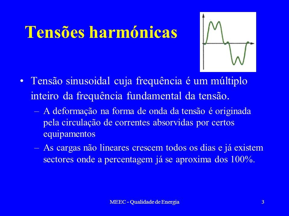 MEEC - Qualidade de Energia14 Harmónicas de corrente Presença da 3ª harmónica Representação da fundamental e da terceira harmónica