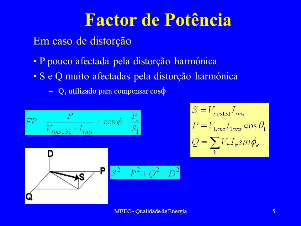 MEEC - Qualidade de Energia6 Distorção total harmónica I total(RMS) - Valor eficaz da da soma de todas as currentes incluindo a fundamental I n - Corrente harmónica de ordem n