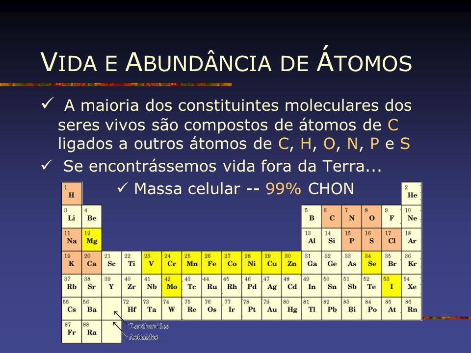 V IDA E A BUNDÂNCIA DE Á TOMOS A maioria dos constituintes moleculares dos seres vivos são compostos de átomos de C ligados a outros átomos de C, H, O