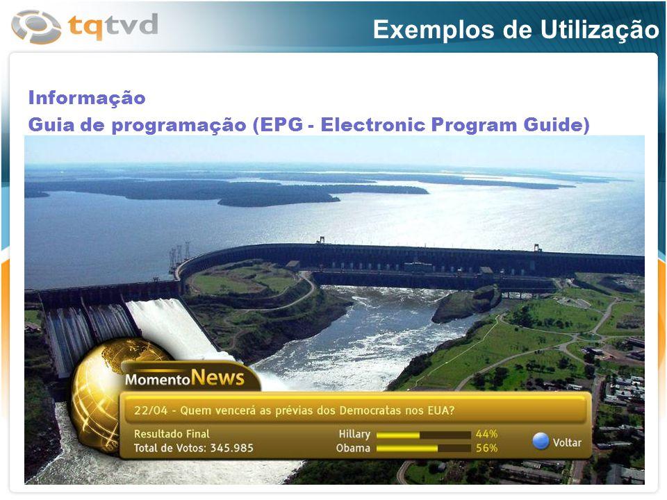 Informação Guia de programação (EPG - Electronic Program Guide)