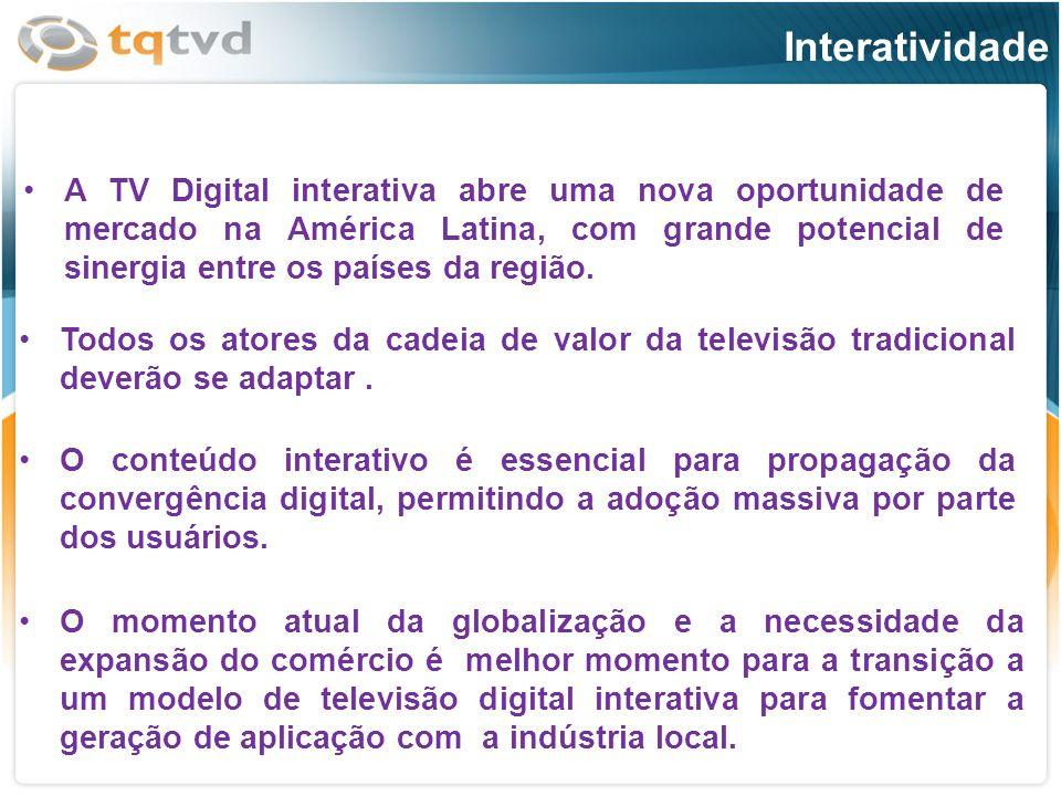 A TV Digital interativa abre uma nova oportunidade de mercado na América Latina, com grande potencial de sinergia entre os países da região.A TV Digit