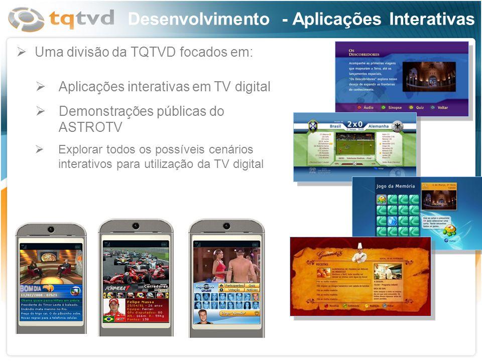 Desenvolvimento - Aplicações Interativas Aplicações interativas em TV digital Demonstrações públicas do ASTROTV Uma divisão da TQTVD focados em: Explo