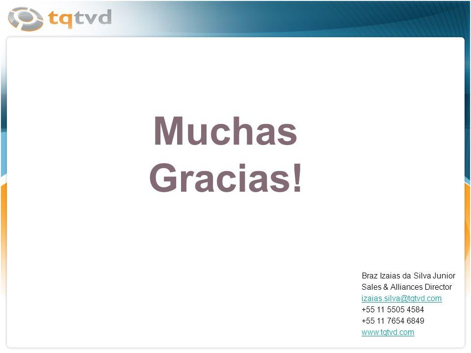 Muchas Gracias! Braz Izaias da Silva Junior Sales & Alliances Director izaias.silva@tqtvd.com +55 11 5505 4584 +55 11 7654 6849 www.tqtvd.com