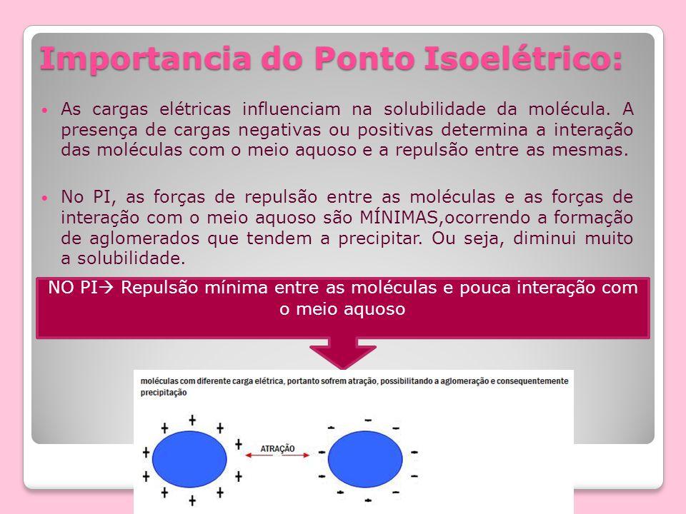 Importancia do Ponto Isoelétrico: As cargas elétricas influenciam na solubilidade da molécula. A presença de cargas negativas ou positivas determina a