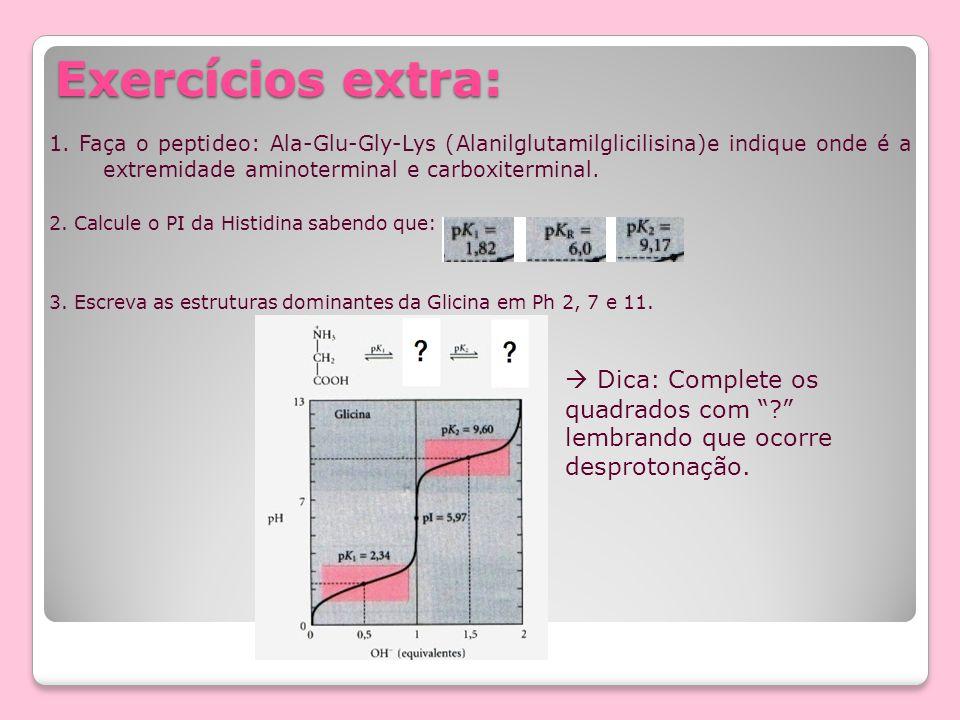 Exercícios extra: 1. Faça o peptideo: Ala-Glu-Gly-Lys (Alanilglutamilglicilisina)e indique onde é a extremidade aminoterminal e carboxiterminal. 2. Ca