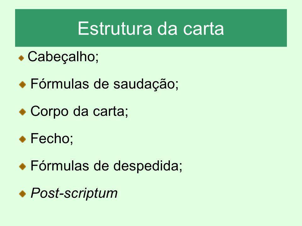 Estrutura da carta Cabeçalho; Fórmulas de saudação; Corpo da carta; Fecho; Fórmulas de despedida; Post-scriptum