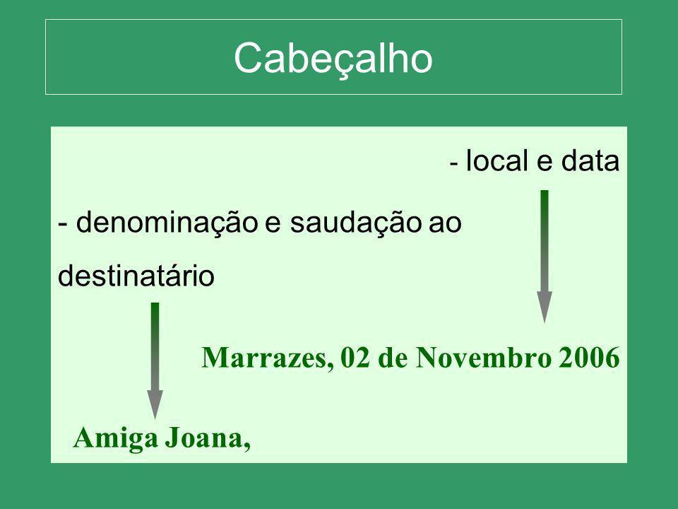 Cabeçalho - l- local e data - denominação e saudação ao destinatário Marrazes, 02 de Novembro 2006 Amiga Joana,