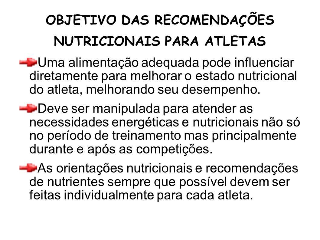 OBJETIVO DAS RECOMENDAÇÕES NUTRICIONAIS PARA ATLETAS Uma alimentação adequada pode influenciar diretamente para melhorar o estado nutricional do atlet