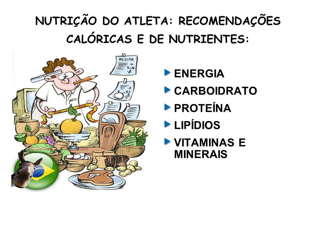 NUTRIÇÃO DO ATLETA: RECOMENDAÇÕES CALÓRICAS E DE NUTRIENTES: ENERGIA CARBOIDRATO PROTEÍNA LIPÍDIOS VITAMINAS E MINERAIS
