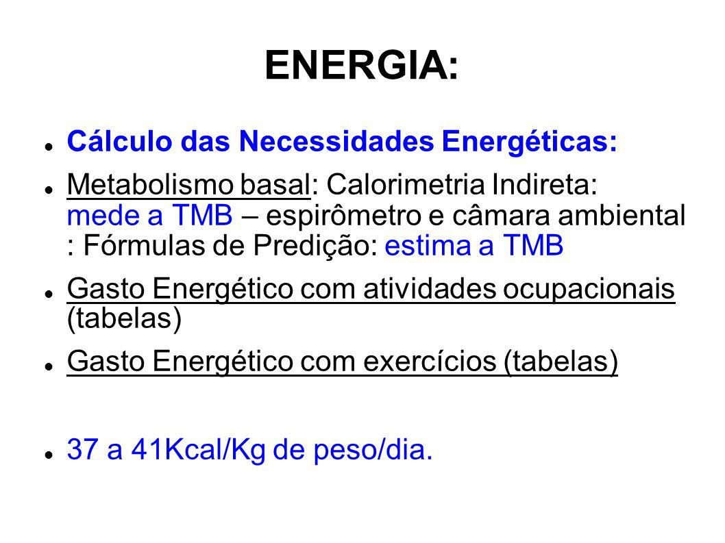 ENERGIA: Cálculo das Necessidades Energéticas: Metabolismo basal: Calorimetria Indireta: mede a TMB – espirômetro e câmara ambiental : Fórmulas de Pre