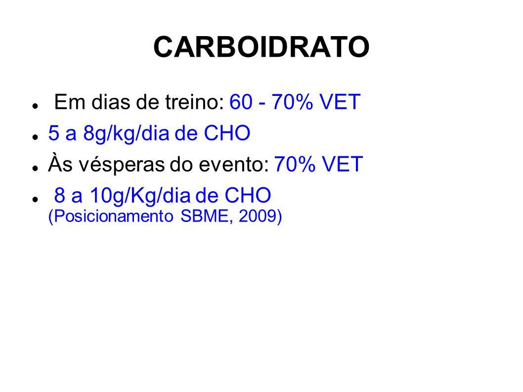 CARBOIDRATO Em dias de treino: 60 - 70% VET 5 a 8g/kg/dia de CHO Às vésperas do evento: 70% VET 8 a 10g/Kg/dia de CHO (Posicionamento SBME, 2009)