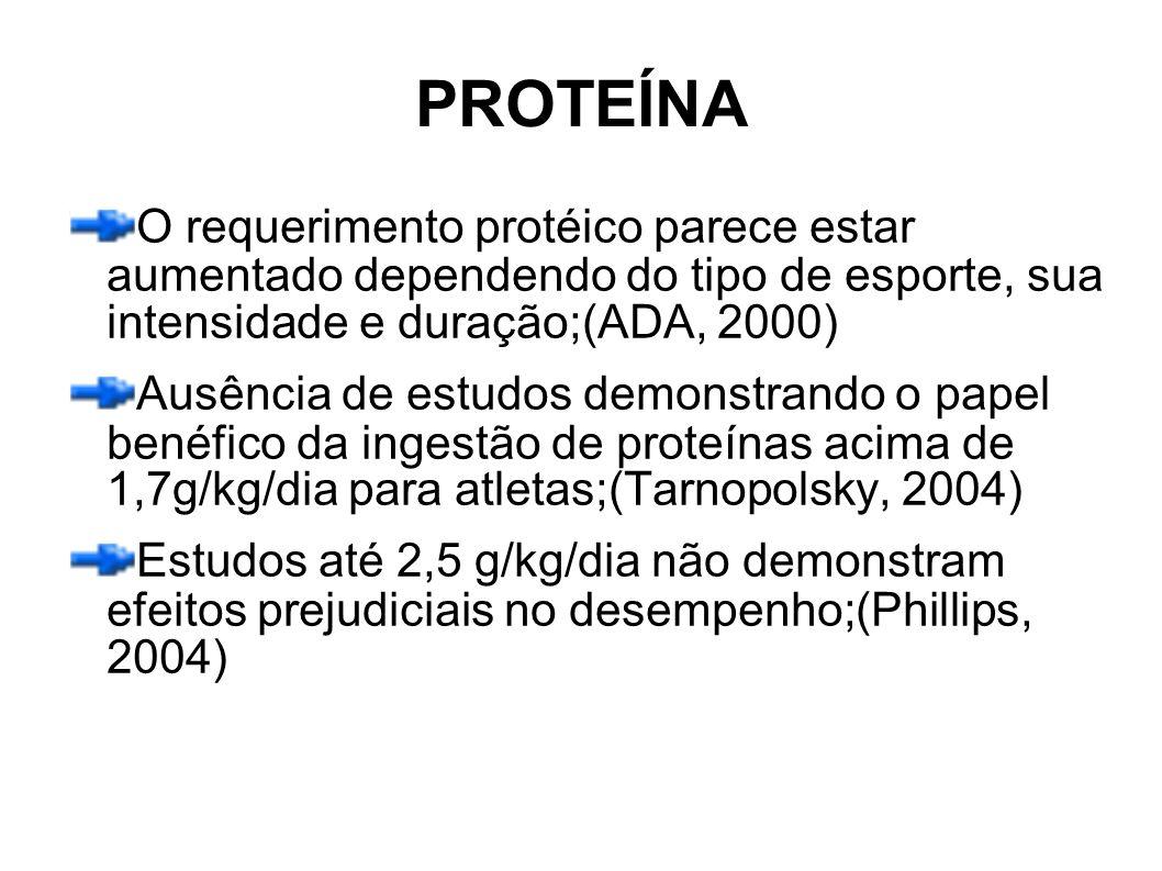 PROTEÍNA O requerimento protéico parece estar aumentado dependendo do tipo de esporte, sua intensidade e duração;(ADA, 2000) Ausência de estudos demon