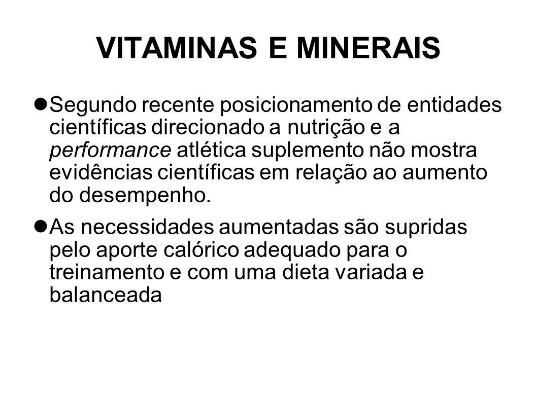 VITAMINAS E MINERAIS Segundo recente posicionamento de entidades científicas direcionado a nutrição e a performance atlética suplemento não mostra evi