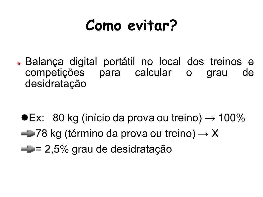 Como evitar? Balança digital portátil no local dos treinos e competições para calcular o grau de desidratação Ex:80 kg (início da prova ou treino) 100