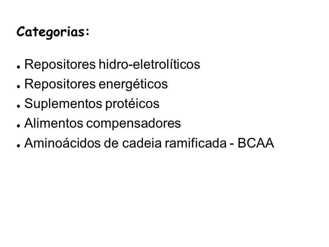 Categorias: Repositores hidro-eletrolíticos Repositores energéticos Suplementos protéicos Alimentos compensadores Aminoácidos de cadeia ramificada - B