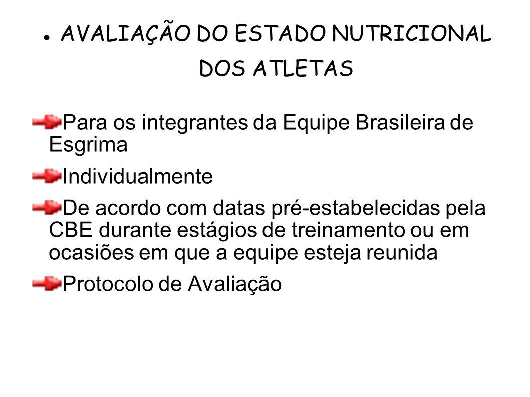 Para os integrantes da Equipe Brasileira de Esgrima Individualmente De acordo com datas pré-estabelecidas pela CBE durante estágios de treinamento ou