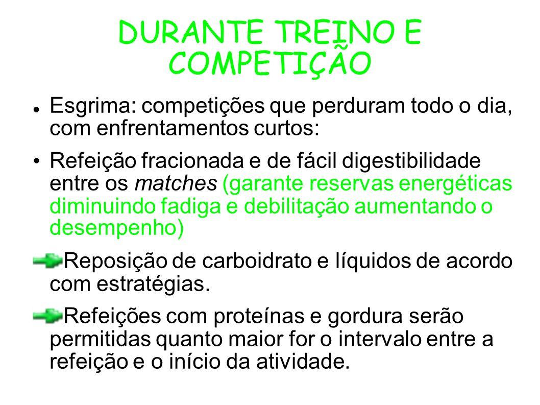 DURANTE TREINO E COMPETIÇÃO Esgrima: competições que perduram todo o dia, com enfrentamentos curtos: Refeição fracionada e de fácil digestibilidade en