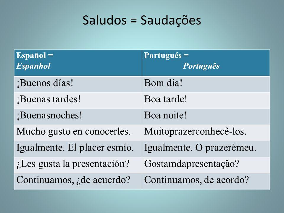 Saludos = Saudações Español = Espanhol Portugués = Português ¡Buenos días!Bom dia! ¡Buenas tardes!Boa tarde! ¡Buenasnoches!Boa noite! Mucho gusto en c