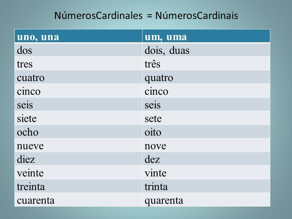 NúmerosCardinales = NúmerosCardinais uno, unaum, uma dosdois, duas trestrês cuatroquatro cinco seis sietesete ochooito nuevenove diezdez veintevinte t