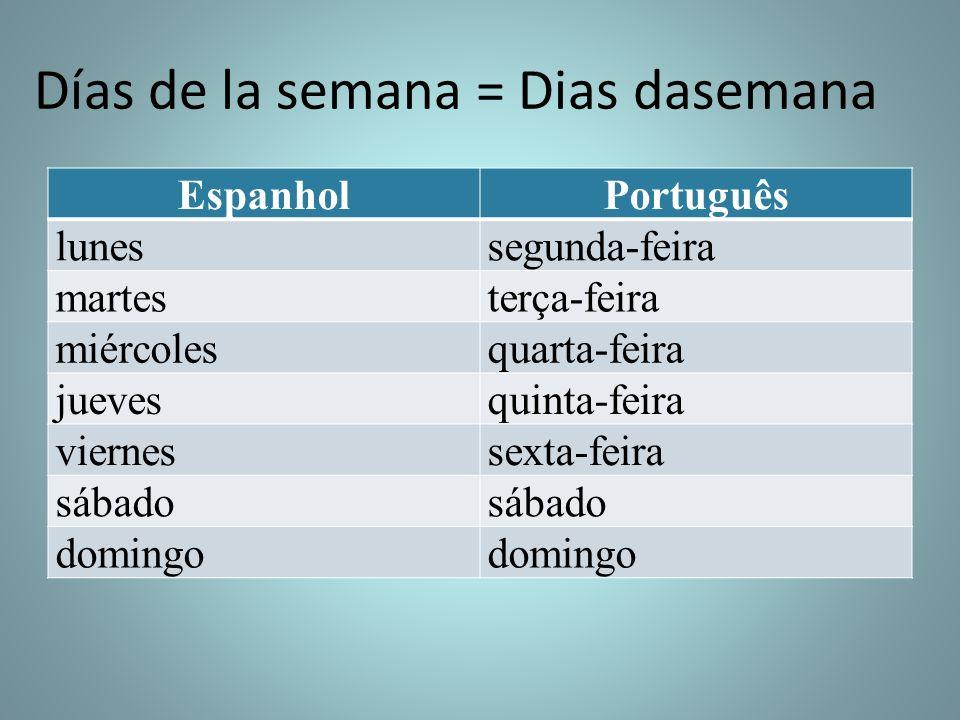 Días de la semana = Dias dasemana EspanholPortuguês lunessegunda-feira martesterça-feira miércolesquarta-feira juevesquinta-feira viernessexta-feira s