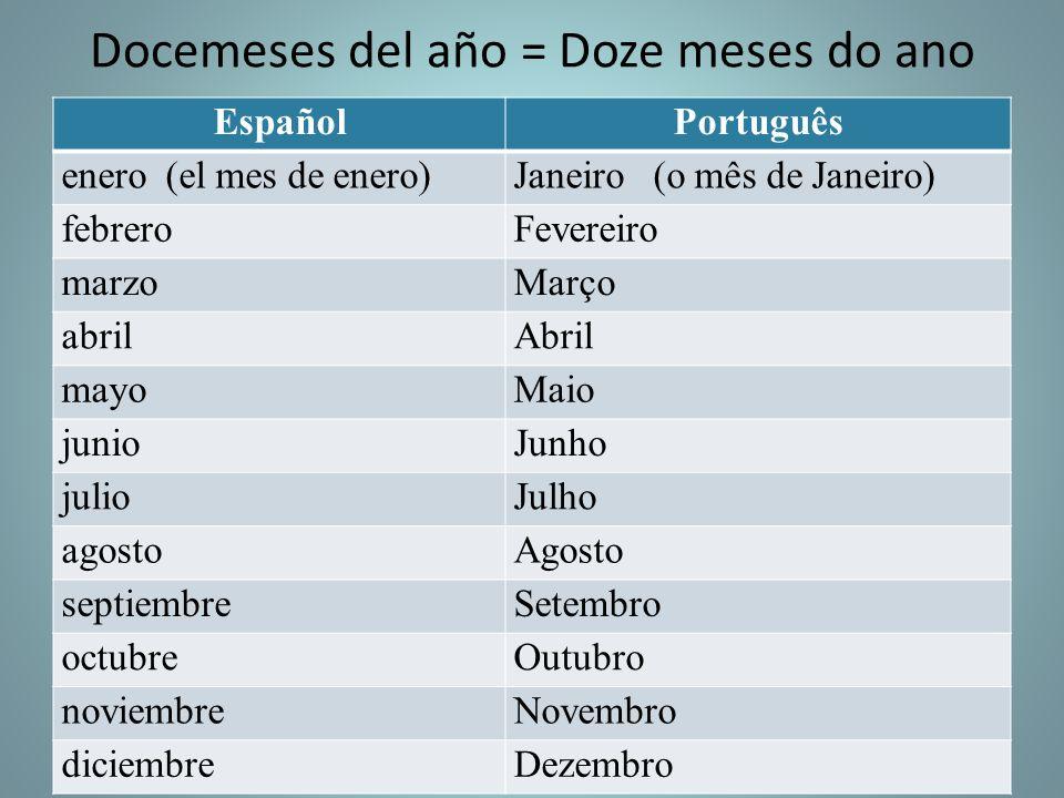 Docemeses del año = Doze meses do ano EspañolPortuguês enero (el mes de enero)Janeiro (o mês de Janeiro) febreroFevereiro marzoMarço abrilAbril mayoMa