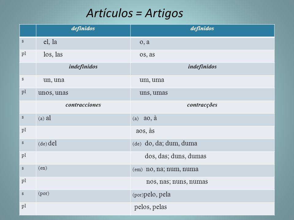 Artículos = Artigos definidos s el, la o, a pl los, las os, as indefinidos s un, una um, uma pl unos, unas uns, umas contraccionescontracções s (a) al