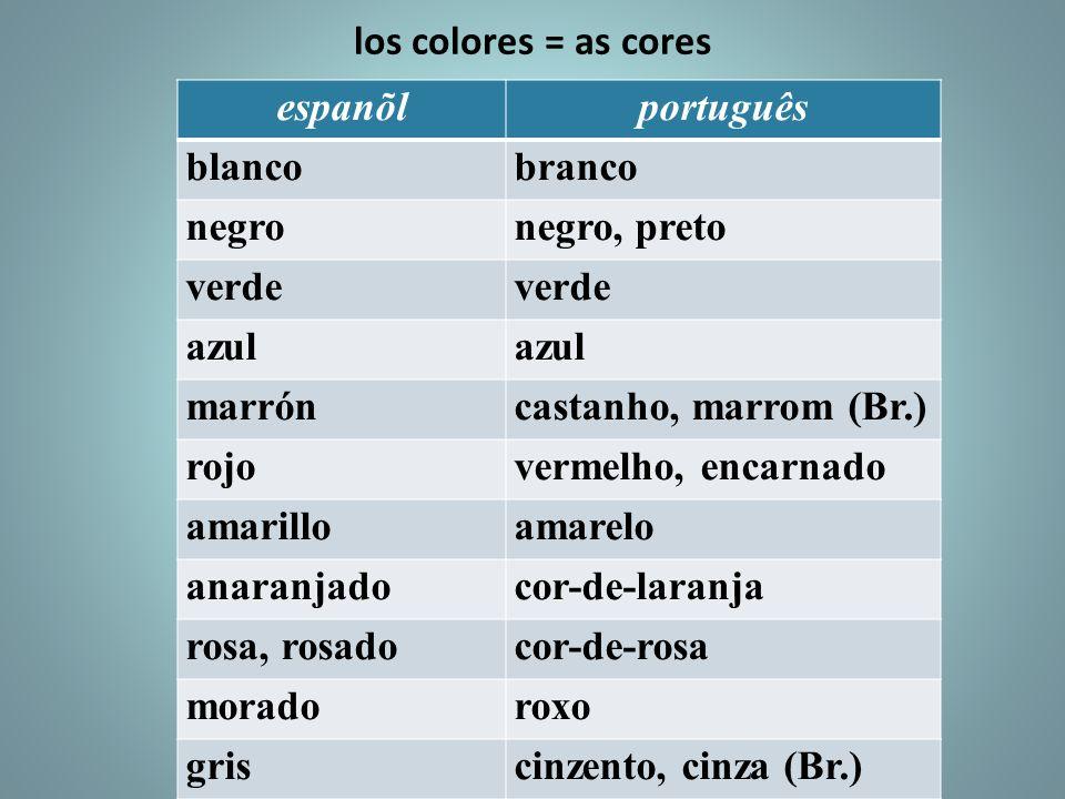 los colores = as cores espanõlportuguês blancobranco negronegro, preto verde azul marróncastanho, marrom (Br.) rojovermelho, encarnado amarilloamarelo