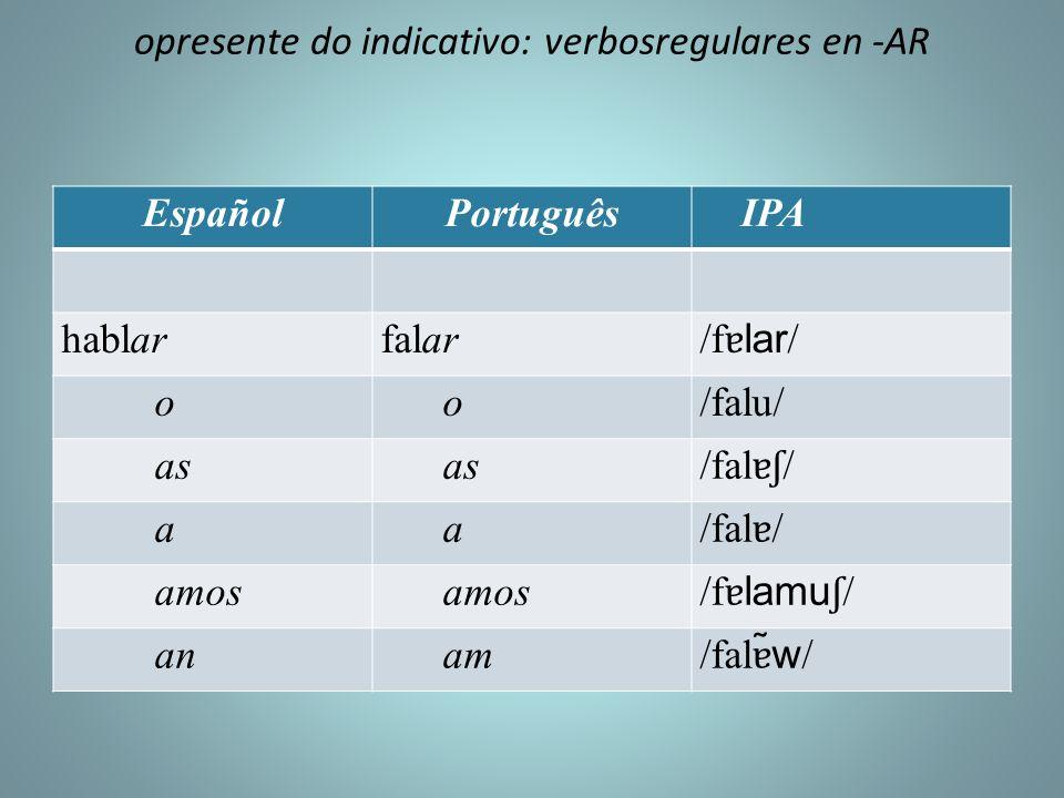 opresente do indicativo: verbosregulares en -AR EspañolPortuguês IPA hablarfalar /f ɐ lar / o o/falu/ as /fal ɐʃ / a a /fal ɐ / amos /f ɐ lamu ʃ / an