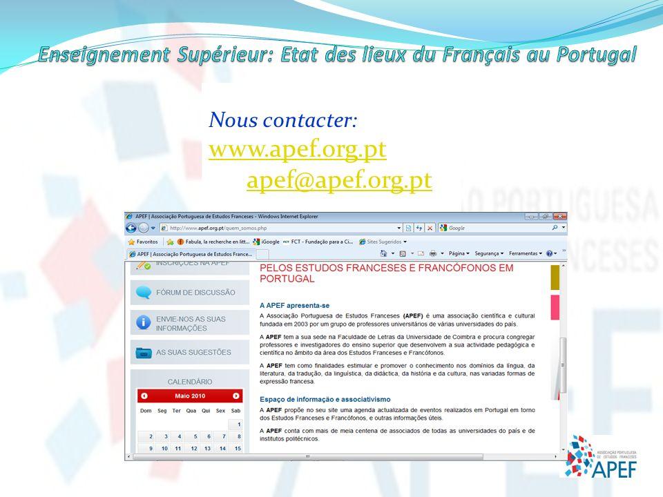 Nous contacter: www.apef.org.pt apef@apef.org.pt