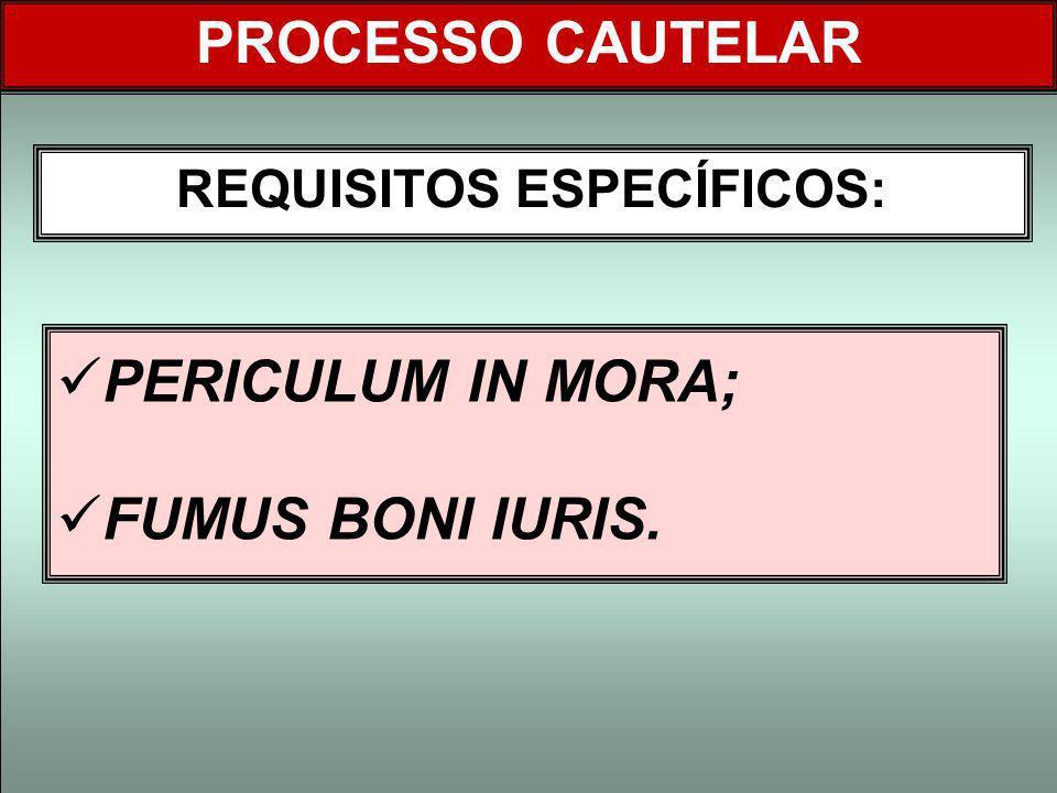 PERICULUM IN MORA; FUMUS BONI IURIS. REQUISITOS ESPECÍFICOS: