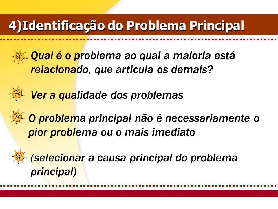 (selecionar a causa principal do problema principal) 4)Identificação do Problema Principal Qual é o problema ao qual a maioria está relacionado, que a