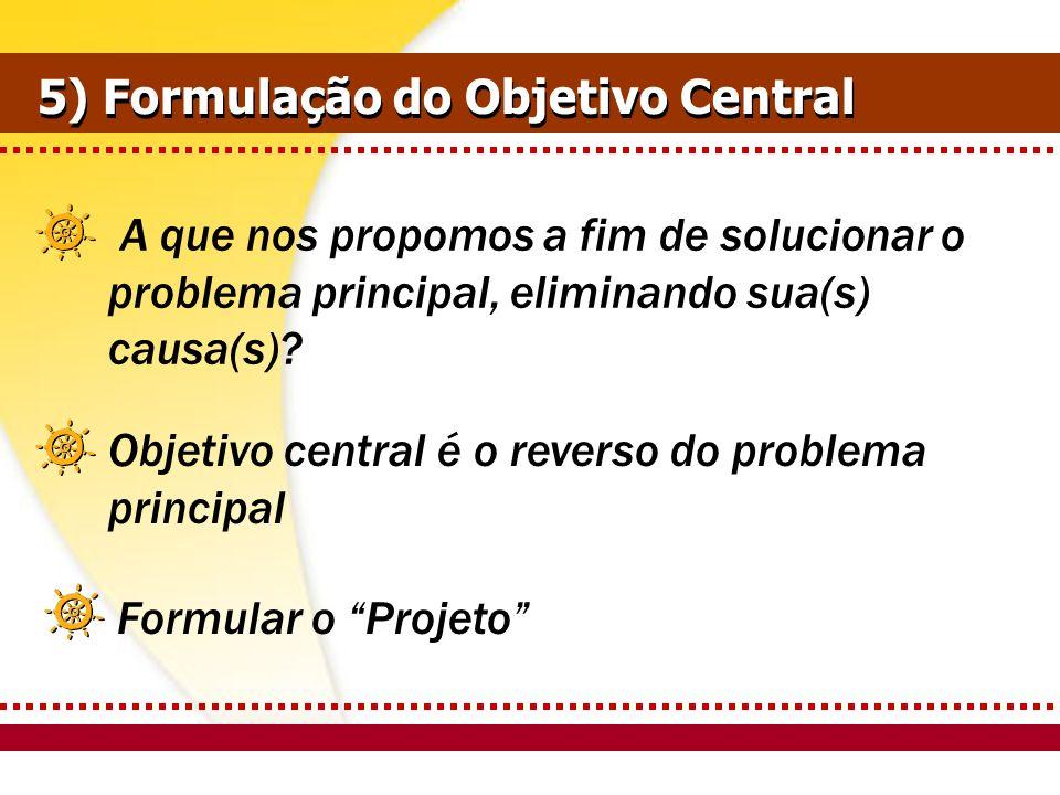 Formular o Projeto 5) Formulação do Objetivo Central A que nos propomos a fim de solucionar o problema principal, eliminando sua(s) causa(s)? Objetivo