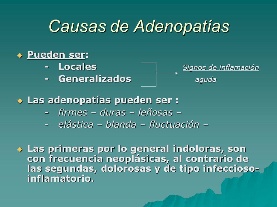 Causas de Adenopatías Pueden ser: Pueden ser: - Locales Signos de inflamación - Generalizados aguda Las adenopatías pueden ser : Las adenopatías puede
