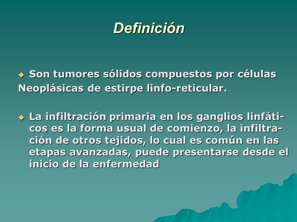 Definición Son tumores sólidos compuestos por células Son tumores sólidos compuestos por células Neoplásicas de estirpe linfo-reticular. La infiltraci